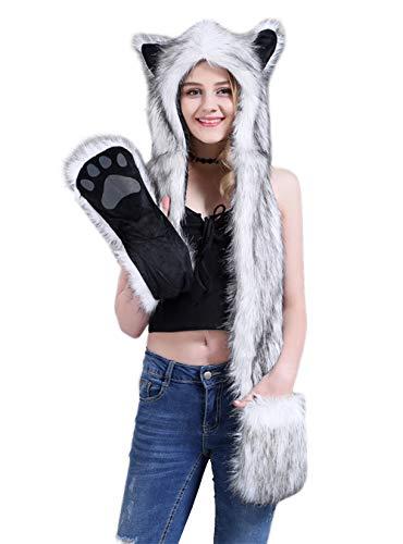 Aivtalk Damen Künstliches Fell Tiere Mütze Schal Winter Warm Kapuzenschal mit Ohrenschutz Handschuhe Fellmütze 3-in-1 Kapuze Allerheiligen Kostüme Plüsch Schals - Schwarz-Weiß