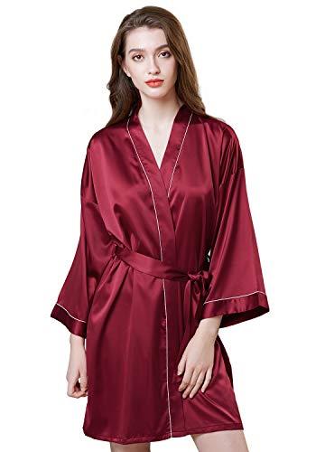 Mogao Caves Batas de satén para Mujeres, Batas de Estilo Kimono para Mujeres, Batas de baño Cortas y de Color Liso
