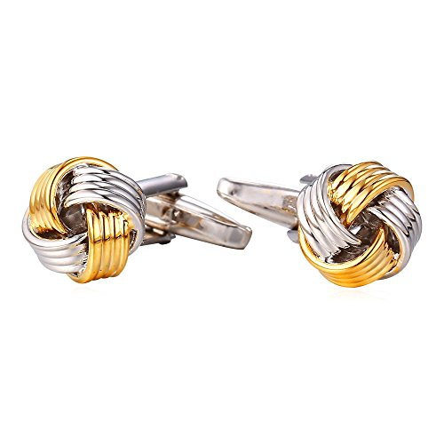 U7 Knot Cufflinks for Men Business Wedding Platinum 18K Gold Plated Cuff Links