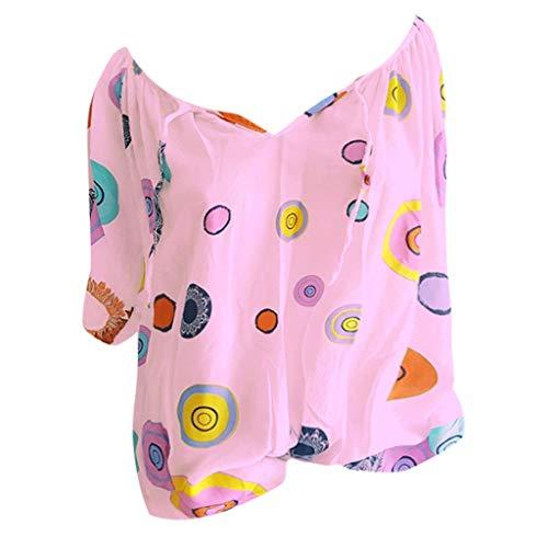 Shinehua Elegante blouses met V-hals voor dames, oversized T-shirt, lange mouwen, grote maten, tuniek-shirts, tops, bandage, kant, top, feestelijk blousenshirt, bikinitop X-Large roze