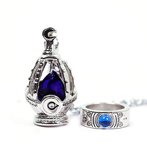 Zhuotop Puella Magi Madoka Magica Soul Gem Halskette mit Anhänger und Ring, Cosplay-Set, 5Farben blau
