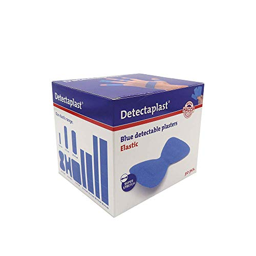 Detectaplast Pflaster wasserfest Elastic, blaue Wundpflaster für Lebensmittelbereich, detektierbare Pflaster für Erste Hilfe in der Gastronomie, 68 x 38 mm, Fingerkuppenpflaster, 50 Stück