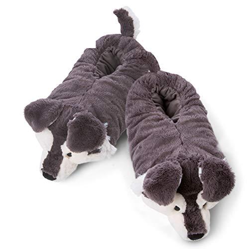 NICI 45745 NICI Hauschuhe Hund Husky Swante Gr. 38-41 – Plüsch-Hauschuhe rutschfest – Warme Kuscheltier Hausschuhe Winter für Jungen und Mädchen – Tier-Schuhe mit Anti-Rutsch Sohle – Slippers