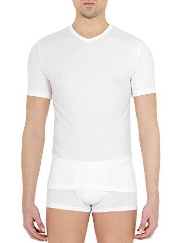 POMPEA Camisetas para hombre con cuello en V Feeling de microfibra, juego de 3 unidades blanco S-M