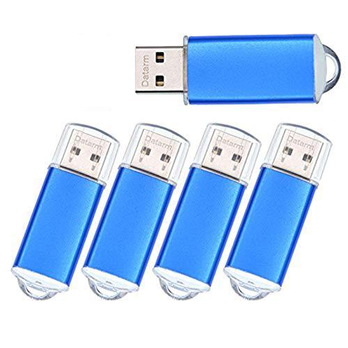 USB Stick 16 GB 5er Pack Speichersticks - 16GB USB 2.0 Flash Laufwerk 5 Stück Metall Memory Sticks - Kleine Set Portabel Pendrive Blau Flash Drive mit Kappe für Konferenz von Datarm