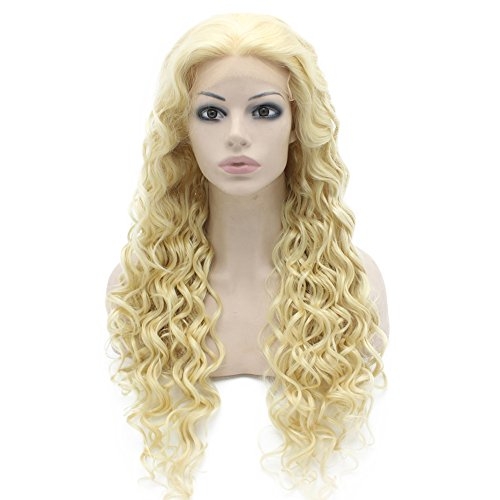 Perücke, lang, gelockt, 613, blond, hitzebeständig, Lace-Front-Perücke