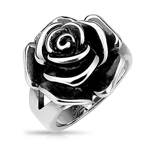 BlackAmazement 316L - Anello in acciaio inossidabile massiccio gotico, con rose, colore: Argento e Acciaio inossidabile, 50 (15.9), cod. -