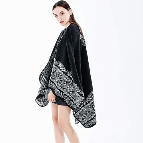Wolle Für Schal,Schal Mit Lochmuster Klassischer Damenschal Im Europäischen Und Amerikanischen Stil Geteilter Mantel Im Rustikalen Stil-A
