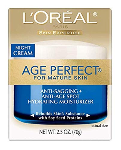 LOreal Paris Skin Care Age Perfect Night Cream, Anti-Aging Face Moisturizer With Soy Seed Proteins, 2.5 Oz