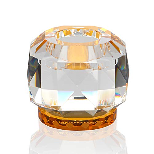 Reflections Copenhagen - Texas - Teelichtständer, Kerzenleuchter, Kerzenständer - Kristallglas - Klar, Amber - (LxBxH): 9 x 9 x 7,8 cm