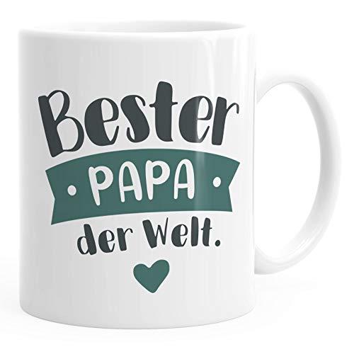 Moonworks® Kaffee-Tasse Beste/r Mama/Papa der Welt Geschenk Mütter Väter Geburtstag Weihnachten Danke sagen Bester Papa petrol uni - weiß Keramik-Tasse