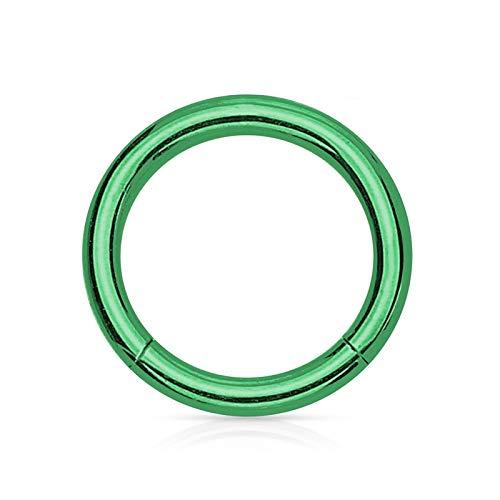 AnazoZ 1PC Piercing Aro Acero Inoxidable Aro 10/MM Verde 1.2x10 Piercing Nariz