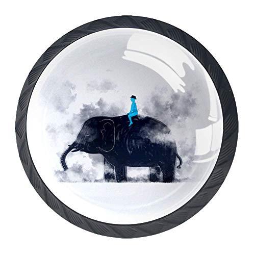Runde Schublade Griff Märchen Elefanten Rauch Mythen Kristallglas Kommode Schrank Knöpfe zieht mit Schrauben für Home Küche Kleiderschrank Schrank Schrank 4 Stück