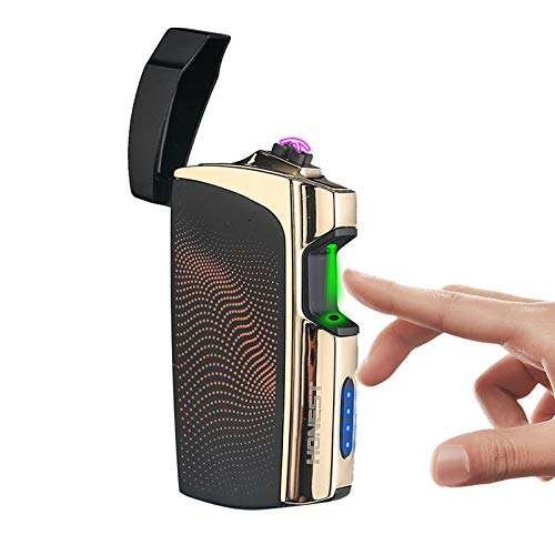 Windproof Arc Lighter X Plasma Lighters Rechargeable USB Lighter Electric Lighter for Cigarette with LED Display Power (E-Black)