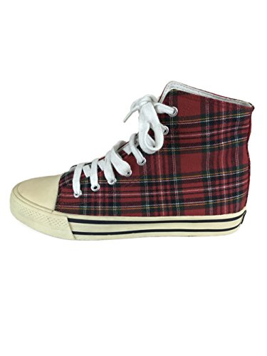 Underground England UW-006-210 Red Tartan Canvas Ankle Boots (10 UK, Red Tartan)