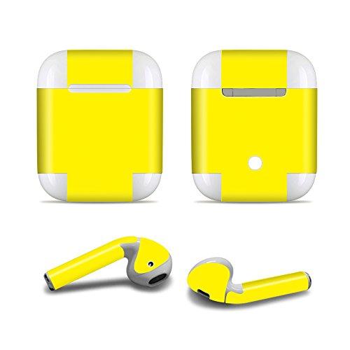 ProElife Nauwkeurige Protective Decal Skin Vivid Sticker Huidklevende Wrap Cover voor Apple Airpods 1/2 Opladen Case en Oordoppen, Krasbestendige Airpods Accessoires Kit, For Airpods 1 and 2, Geel