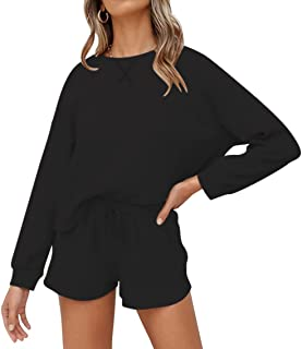 Sponsored Ad - Lingswallow Women Lounge Set Knit Long Sleeve Tops and Shorts 2 Piece Lounge Pajama Sets Outfits for Women ...
