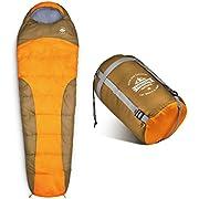 Lumaland Outdoor Schlafsack Mumienschlafsack, 230 x 80 cm, inklusive Packsack, 50 x 25 cm gepackt, orange
