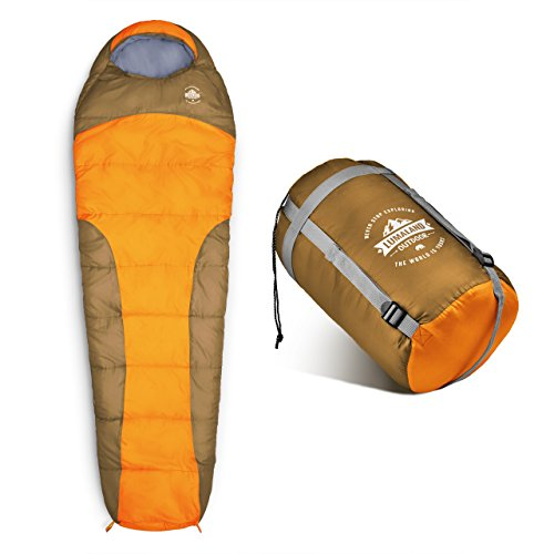 Lumaland Outdoor Saco de Dormir, ca. 230 x 80 cm, Bolsa de Transporte incluida, ca. 50 x 25 cm, Naranja