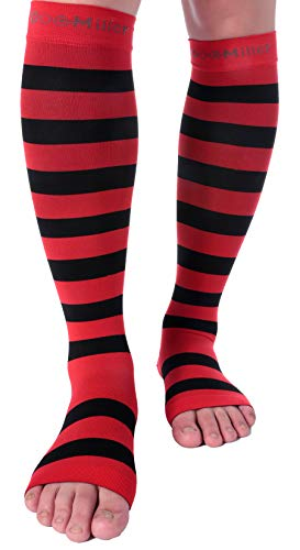 Doc Miller Open Toe Compression Socks 1 Pair 15-20 mmHg Firm Graduated Support for Circulation Surgery Recovery Varicose Veins POTS (Red-Blk, S)