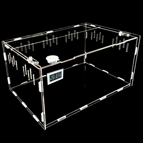 Petforu Aquarium Breeding Tank Acrylic Reptile Feeding Box with Temperature Hygrometer (Small)