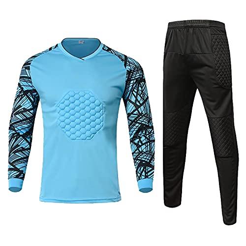 YSPORT Fußball Torwart Uniform Sportbekleidung Sets Antikollisions Langärmelig Trainingsanzug Anzug (Color : Blue, Size : L)