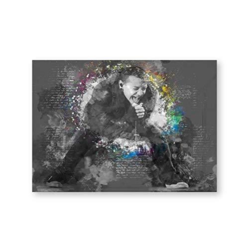 Nbqwdd Immagini Moderne di Arte della Parete di Bianco e Nero Chester Bennington Stampe d'Arte su Tela Poster di Musica per la Decorazione del Soggiorno -50x70cmx1 Senza Cornice