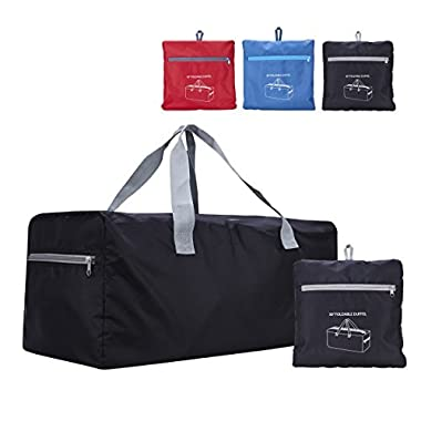 Foldable Duffel Bag 75L Lightweight with Water Rresistant for Travel (Black)