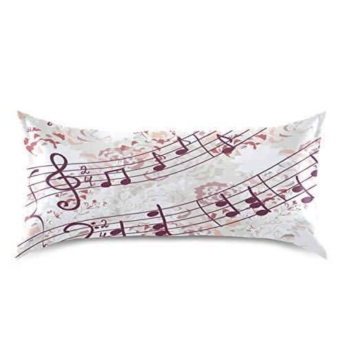 HaJie Funda de almohada de satén con diseño floral y nota musical, 100% poliéster, funda de almohada para cabello y piel, tamaño estándar 50,8 x 101,6 cm, 1 unidad