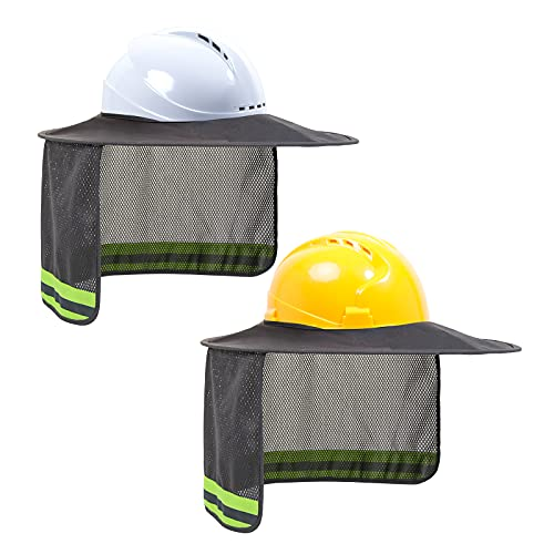 TCCFCCT Hard Hat Sun Shade, Full Brim Mesh Neck Sun Shield with Reflective Strip, High Visibility Sun Visor Neck Shade for Hard Hat Accessories, (Hard Hat Not Included), Grey, 2 Packs