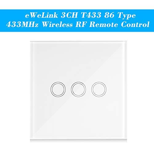 eWeLink Interruptor Tactil Pared T433 86 Tipo 433MHz 3CH Transmisor de Control Remoto Inalámbrico Soporta Todos los Productos SONOFF RF 433MHz Lámpara de Escalera de Control