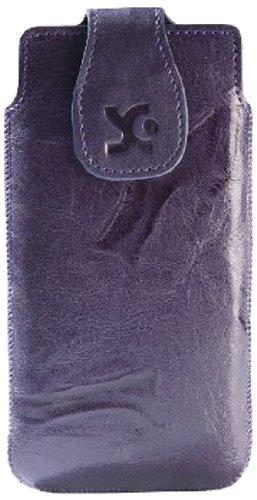 Suncase Echt Ledertasche für das Sony Xperia M wash-dunkellila