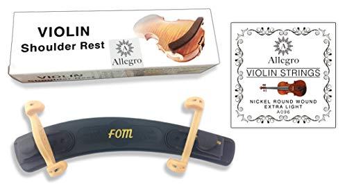 Fom Verstellbare Schulterstütze für Violinen (alle Größen) mit Allegro Violin-Saitensatz 4/4 - 3/4 Schwarz