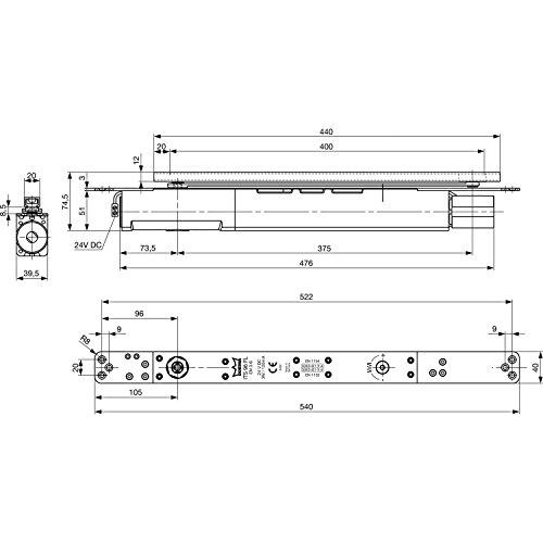 Geze Türschließer integriert ITS96 FL 3-6 mit Standardachse