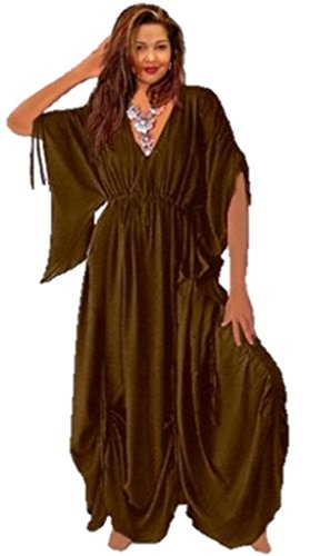 LOTUSTRADERS Women's Caftan Dress Ruching Asym Q538