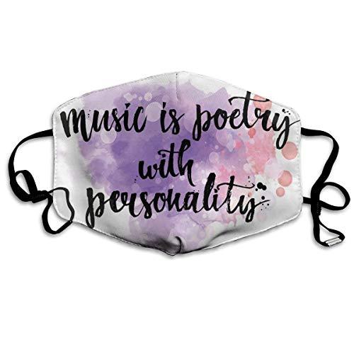 Bequeme Winddichte Maske, inspirierendes Zitat über Musik Handgeschriebene Kalligraphie Farbspritzer Kunst