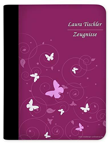 CreaDesign, Kinder Zeugnismappe mit Namen personalisiert, Motiv Schmetterling Ornamente Brombeere Grau ohne Klarsichthüllen, A4, 24 x 31 x 1 cm, Rücken schwarz