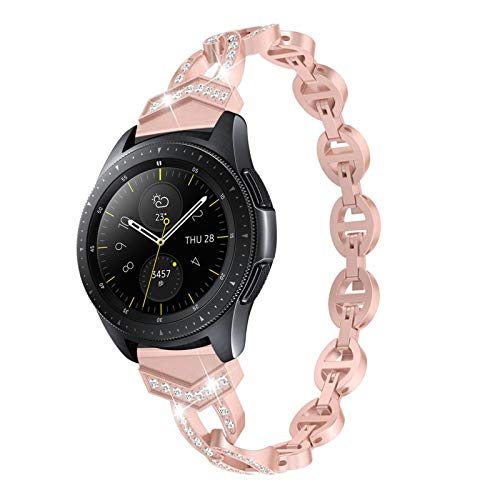 Pulsera para Galaxy Watch 46mm, Miya System Ltd Pulsera de Reloj de Acero Inoxidable Bling Rhinestone Pulsera de Repuesto para Galaxy Watch 46mm/Galaxy Watch 3 45mm/Gear S3 Frontier (Oro Rosa)