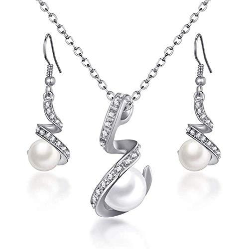 ZHANG Clsico Collar De Perlas De Imitacin Conjunto De Joyas para Mujeres Cristal Transparente Elegante Fiesta Disfraz De Moda