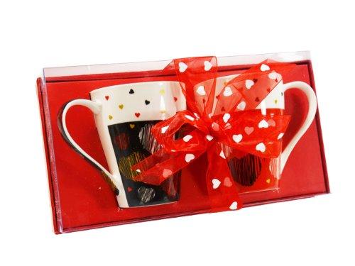Kögler 42535 Set de 2 Tasses en Porcelaine à Motifs de cœurs et nœuds Noir/Rouge 9,5 x 9 cm