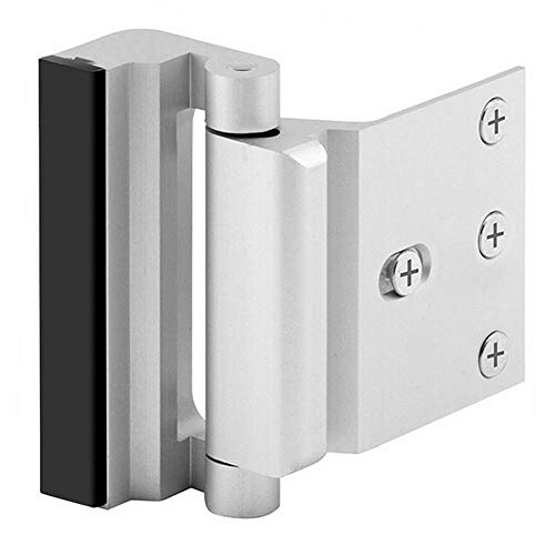 "Home Security Door Lock with 8 Screws, Childproof Door Reinforcement Lock with 3"" Stop Withstand 800 lbs for Inward Swinging Door,Upgrade Night Lock to Defend Your Home (Silver)"