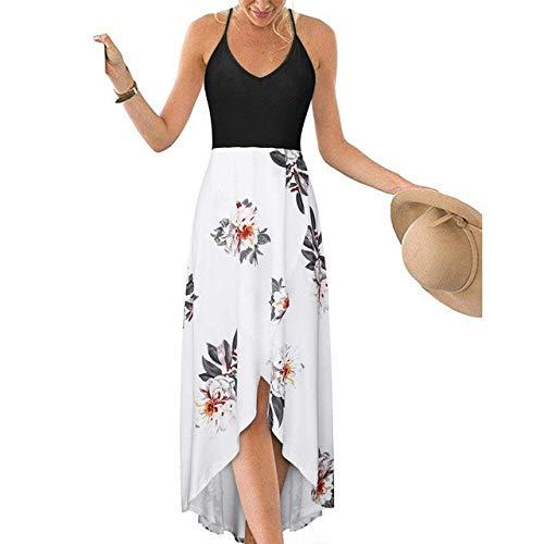 Ts Vrouwen Summer Sling Jurk Bloemen Gedrukt Mouwloze Asymmetrische Maxi Jurk Off Shoulder V-hals Backless Beach Sundress (Color : A03, Size : L)