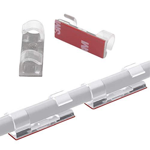 60 Stück Kabelklemme Selbstklebend, Transparent Kabelclips, Kabelhalter Selbstklebende Kabelklemme Set Kabel für Haus Schreibtisch Büro USB Ladekabel