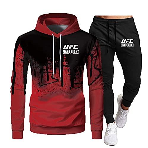 SHIXR Hombres MMA Fitness UFC Sudadera con Capucha y Pantalones Impresos Sudadera para Correr Camisa Traje de Jogging para Hombres Traje de chándal de Manga Larga Traje de Sudadera,Rojo,XL