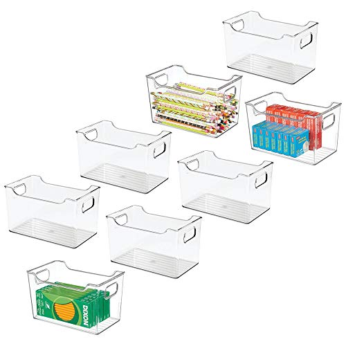 mDesign Plastic Home Office Storage Organization Bin Basket with Handles - for Cabinets Closets Drawers Desks Tables Workspace - Cube - 10 Inches Wide 8 Pack - Clear