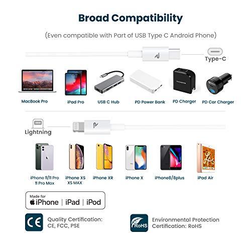 RAMPOW USB C auf Lightning Kabel, USB C Lightning Kabel[MFi-Zertifiziert und PD-Schnellaufladung], USB-C auf Lightning Kabel kompatibel mit iPhone 8/X/XS/XR/11/12, iPad und mehr - 0,2m Weiß