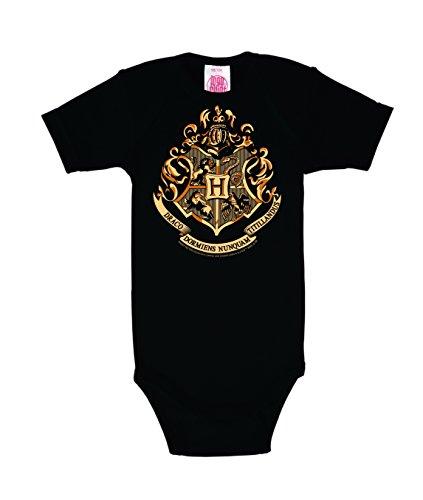 Logoshirt Pelicula - Harry Potter - Hogwarts - Emblema - Body para bebé - Pelele para bebé - Negro - Diseño Original con Licencia, Talla 50/56, 0-2 Meses