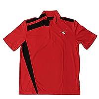 テニスウェア ディアドラ DIADORA メンズ DOS7336A ゲームシャツ 2011 半袖Tシャツ 3599(レッド×ブラック) O