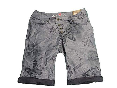 Buena Vista Damen Stretch Jeans Shorts Bermuda Krempelhose Malibu Butterfly weitere Farben (M, Purple)