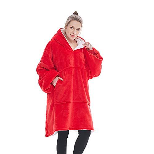QOUP Manta con Capucha, de Gran tamaño, Suave, cálida y cómoda, Manta de Franela para Hombres y Mujeres Adolescentes y Adultos, Talla única para Todos,Rojo